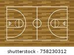basketball court  wooden floor... | Shutterstock .eps vector #758230312