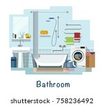 bathroom. bathroom interior.... | Shutterstock .eps vector #758236492