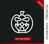 halloween pumpkin icon. holiday ... | Shutterstock .eps vector #758236732
