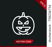 halloween pumpkin icon. holiday ... | Shutterstock .eps vector #758236756