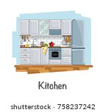 kitchen. kitchen interior.... | Shutterstock .eps vector #758237242