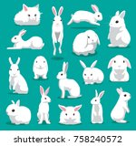 Cute White Rabbit Poses Cartoo...