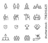 people icons line work group... | Shutterstock .eps vector #758241625
