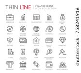 collection of finance thin line ... | Shutterstock .eps vector #758241916