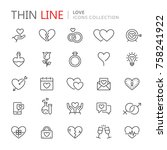 collection of love thin line... | Shutterstock .eps vector #758241922
