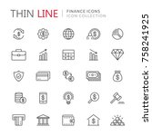 collection of finance thin line ... | Shutterstock .eps vector #758241925