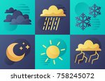 set of simple meteorological... | Shutterstock .eps vector #758245072