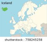 europe map  iceland  | Shutterstock .eps vector #758245258