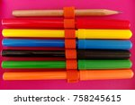 color pens and a pencil | Shutterstock . vector #758245615