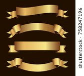 set of golden ribbons vector. | Shutterstock .eps vector #758247196