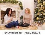 blonde girl has prepared... | Shutterstock . vector #758250676