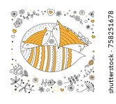 fox family coloring book page.... | Shutterstock .eps vector #758251678