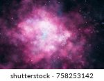 3d rendering. colorful galaxy... | Shutterstock . vector #758253142