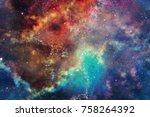 3d rendering.colorful galaxy in ... | Shutterstock . vector #758264392