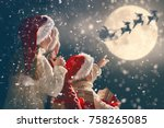 merry christmas and happy... | Shutterstock . vector #758265085