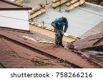 unrecognised worker on modern... | Shutterstock . vector #758266216