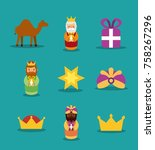 three wise men icons magic kins ... | Shutterstock .eps vector #758267296
