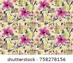 flower pattern with background   Shutterstock . vector #758278156