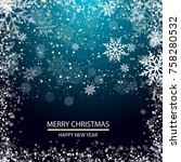 christmas greeting card with... | Shutterstock .eps vector #758280532