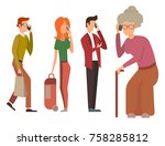 trendy flat people with phone... | Shutterstock .eps vector #758285812
