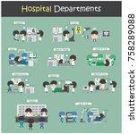 set of hospital departments  ...   Shutterstock .eps vector #758289088