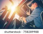 trucker preparing for trip....   Shutterstock . vector #758289988