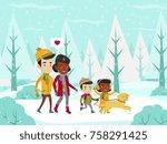 young multiethnic married... | Shutterstock .eps vector #758291425