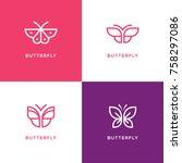 four mono line butterfly logo... | Shutterstock .eps vector #758297086