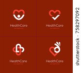 set of four health care icons... | Shutterstock .eps vector #758297092
