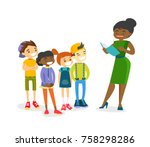 young african american teacher... | Shutterstock .eps vector #758298286