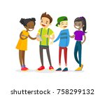 multicultural group of teenage... | Shutterstock .eps vector #758299132