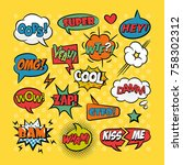 comic speech bubbles pop art... | Shutterstock .eps vector #758302312