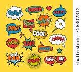 comic speech bubbles pop art... | Shutterstock .eps vector #758302312