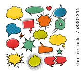 comic speech bubbles pop art... | Shutterstock .eps vector #758302315