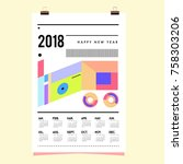 set of wall calendar 2018... | Shutterstock .eps vector #758303206