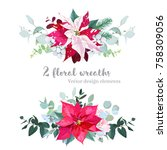 christmas bouquets arranged... | Shutterstock .eps vector #758309056