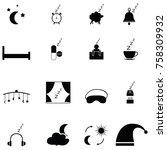 sleeping icon set | Shutterstock .eps vector #758309932