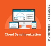 seo cloud synchronization | Shutterstock .eps vector #758310382