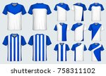 soccer jersey template.blue and ...   Shutterstock .eps vector #758311102