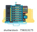 server data center design flat. ... | Shutterstock .eps vector #758313175