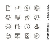 data exchange icon set.... | Shutterstock .eps vector #758313232