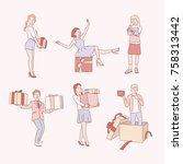 present people character hand... | Shutterstock .eps vector #758313442