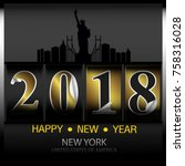happy new year card design h | Shutterstock .eps vector #758316028
