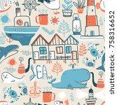 vector doodle illustration.... | Shutterstock .eps vector #758316652