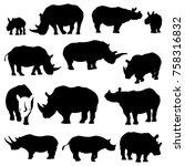 rhino silhouette rhinoceros... | Shutterstock .eps vector #758316832