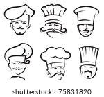 monochrome illustration of six... | Shutterstock .eps vector #75831820
