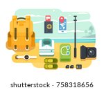 travel or vacation accessories... | Shutterstock .eps vector #758318656