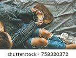 healthy winter breakfast in bed.... | Shutterstock . vector #758320372