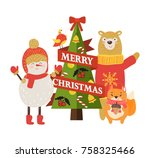 merry christmas postcard with... | Shutterstock .eps vector #758325466
