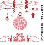 merry christmas and happy new... | Shutterstock .eps vector #758325505